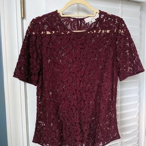 Garnet sheer lace blouse